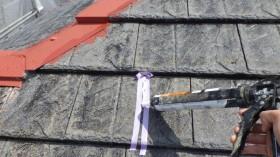 屋根クラック部 コーキング処理と金部錆止め