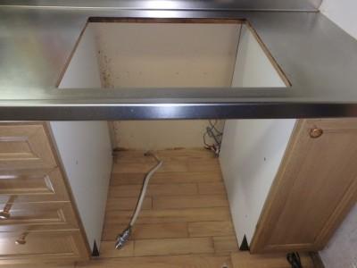 両開閉式収納庫設置工事 ノーリツ NLA6020W(ホワイト)