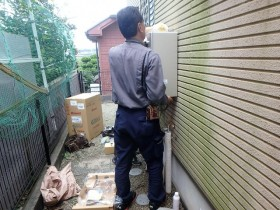 ガス給湯器の取付